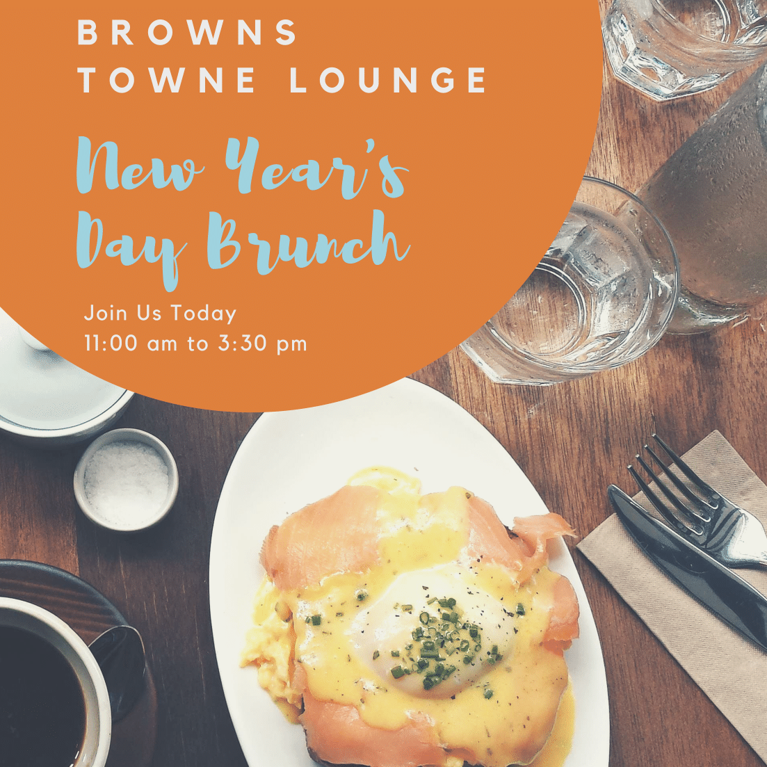 The best way to spend the first day of 2019 is with a delicious meal you don't have to prepare yourself! Join us today from 11:00 am to 3:30 pm for our famous New Year's Day Hangover Brunch featuring all your favorite breakfast and lunch bites including omelettes, slow-roasted prime rib, chicken and waffles, huevos rancheros and so much more! Revitalize and continue the celebration with our Bloody Mary and Mimosa specials starting at $5.50 Brunch for Adults 21 and Up. Seats will fill up fast. HAPPY New Year from Brown's!