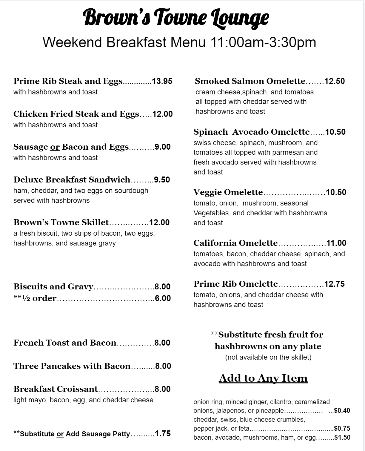 Brunch Menu Salem Oregon - Brown's Towne Lounge